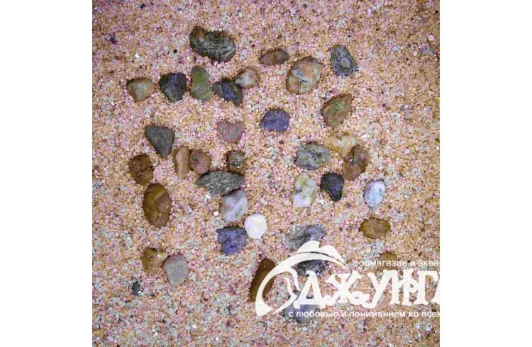 H2SHOW грунт натуральный крупный песок + галька 5 кг